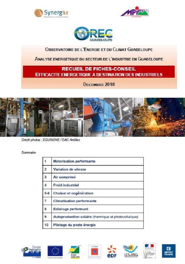 Recueil de fiches conseil: efficacités énergétique à destination des industriels